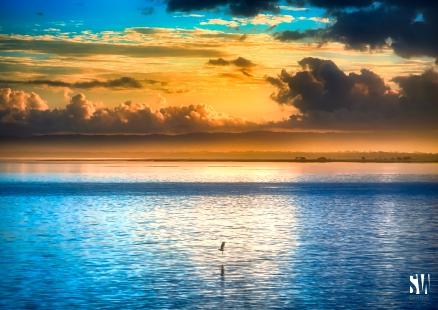 Sunset view across Moreton Bay Queensland